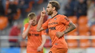 YEKATERINBURG, RUSSIA  AUGUST 10, 2018: Ural Yekaterinburg's Eric Bicfalvi celebrates scoring in their 2018/19 Russian Premier League Round 3 football match against FC Dynamo Moscow at Yekaterinburg Arena Stadium. The game ended in a 1:1 draw. Donat Sorokin/TASS (Photo by Donat SorokinTASS via Getty Images)