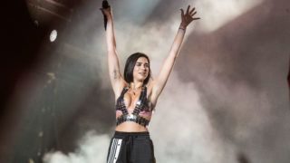 BUDAPEST, HUNGARY - AUGUST 12:  Dua Lipa headlines the main stage on day 5 of Sziget Festival 2018 on August 12, 2018 in Budapest, Hungary.  (Photo by Joseph Okpako/Getty Images)