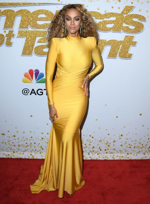 """HOLLYWOOD, CA - AUGUST 14:  Tyra Banks arrives at the """"America's Got Talent"""" Season 13 Live Show Red Carpet at Dolby Theatre on August 14, 2018 in Hollywood, California.  (Photo by Steve Granitz/WireImage)"""
