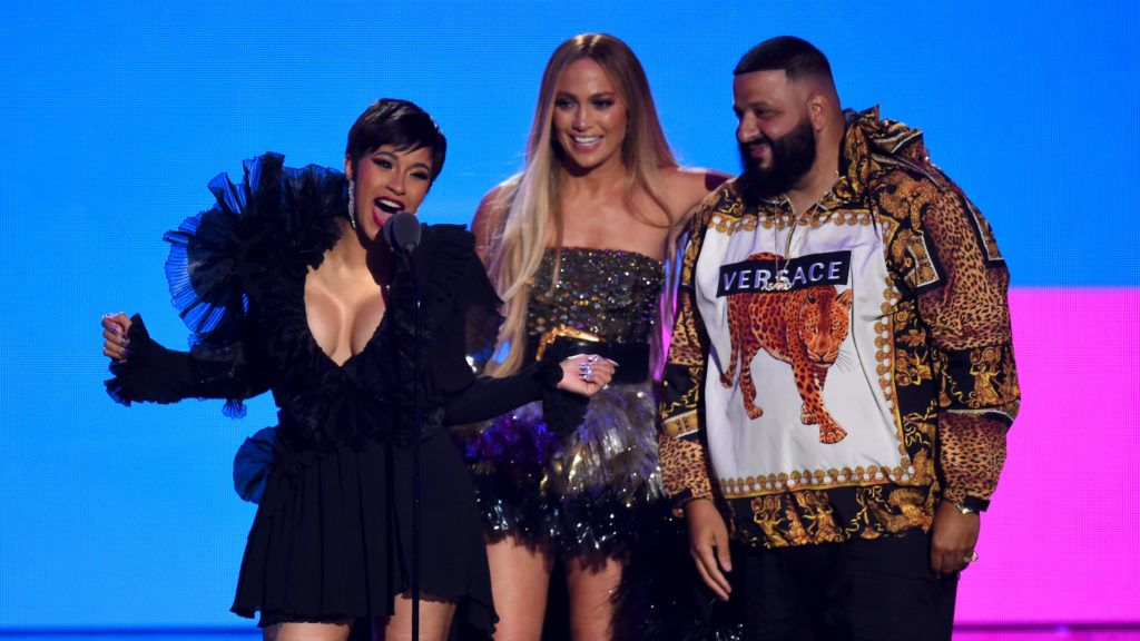 NEW YORK, NY - AUGUST 20: Cardi B, Jennifer Lopez, and DJ Khaled accept the award for Best Collaboration onstage during the 2018 MTV Video Music Awards at Radio City Music Hall on August 20, 2018 in New York City.  (Photo by Theo Wargo/Getty Images)