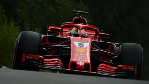 SPA, LIEGE - AUGUST 25: Sebastian Vettel of Germany driving the (5) Scuderia Ferrari SF71H on track during final practice for the Formula One Grand Prix of Belgium at Circuit de Spa-Francorchamps on August 25, 2018 in Spa, Belgium.  (Photo by Dan Mullan/Getty Images)