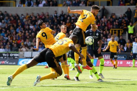 during the Premier League match between Wolverhampton Wanderers and Manchester City at Molineux on August 25, 2018 in Wolverhampton, United Kingdom.