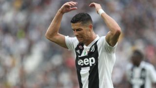 TURIN, ITALY - AUGUST 25:  Cristiano Ronaldo of Juventus reacts to a missed chance during the Serie A match between Juventus and SS Lazio at Allianz Stadium on August 25, 2018 in Turin, Italy.  (Photo by Marco Luzzani/Getty Images)