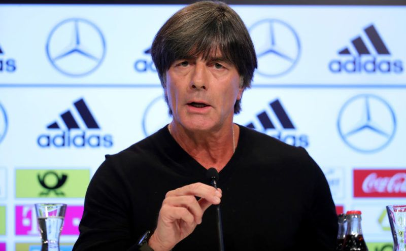 MUNICH, GERMANY - AUGUST 29:  Head coach of Germany Joachim Loew talks to the media at Allianz Arena on August 29, 2018 in Munich, Germany. Joachim Loew has scheduled this press conference to update the public on his research into the failure of the German team at the 2018 FIFA World Cup Russia after Germany didn't make it to the knockout stages of a World Cup for the first time in history.  (Photo by Alexander Hassenstein/Bongarts/Getty Images)