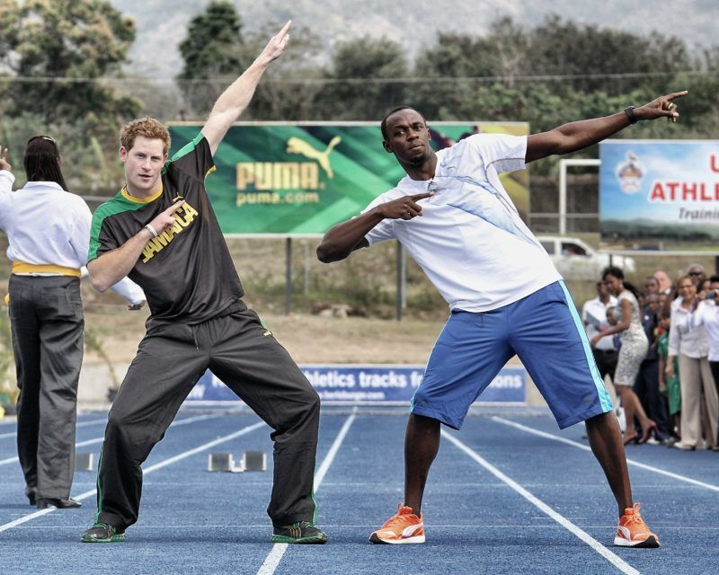 KINGSTON - JAMAICA - MARCH 6:  (EDITORS NOTE: Image was processed using Snapseed) Prince Harry races Usain Bolt at the Usain Bolt Track at the University of the West Indies on March 6, 2012 in Kingston, Jamaica. Prince Harry is in Jamaica as part of a Diamond Jubilee Tour, representing Queen Elizabeth II, taking in Belize, the Bahamas, Jamaica and Brazil.  (Photo by Chris Jackson/Getty Images)