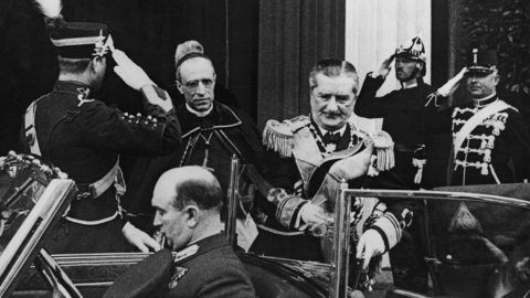 Admiral Miklos Horthy (1868 - 1957), the Regent of Hungary, meets Cardinal Pacelli, the Papal Secretary and later Pope Pius XII, on the latter's arrival in Budapest, Hungary, for the Eucharistic Congress, 24th May 1938. (Photo by Keystone/Hulton Archive/Getty Images)