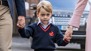 LONDON, ENGLAND - SEPTEMBER 7: Prince George of Cambridge arrives for his first day of school at Thomas's Battersea on September 7, 2017 in London, England. (Photo by Richard Pohle - WPA Pool/Getty Images)