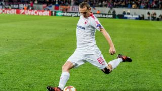 Mihaly Korhut #69 (Hapoel Beer-Sheva)   during the UEFA Europa League 2017-2018, Group Stage, Groupe G game between FCSB Bucharest (ROU) and Hapoel Beer-Sheva FC (ISR) at National Arena Stadium, Bucharest,  Romania, on 2 November 2017.  (Photo by Cronos/Catalin Soare/NurPhoto via Getty Images)