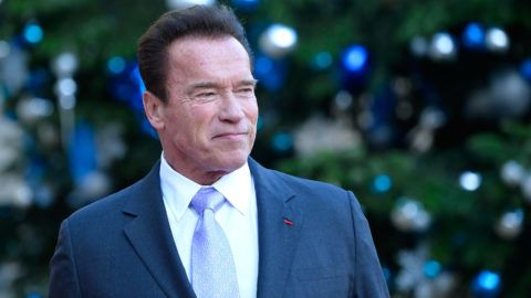 PARIS, FRANCE - DECEMBER 12:  Arnold Schwarzenegger arrives for a meeting with French President Emmanuel Macron as he receives the One Planet Summit's international leaders at Elysee Palace on December 12, 2017 in Paris, France. Macron is hosting the One Planet climate summit, which gathers world leaders, philantropists and other committed private individuals to discuss climate change.  (Photo by Aurelien Meunier/Getty Images)