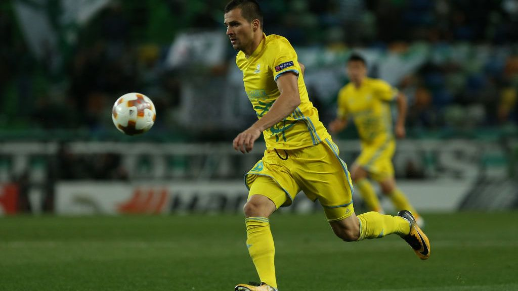 Astana's forward Djorde Despotovic from Serbia during the UEFA Europa League match between between Sporting CP and FC Astana at the Estadio Jose Alvalade on February 22, 2018 in Lisbon, Portugal. (Photo by Bruno Barros / DPI / NurPhoto via Getty Images)