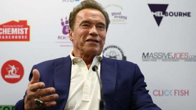 MELBOURNE, AUSTRALIA - MARCH 16:  Arnold Schwarzenegger speaks during a press conference at The Melbourne Convention and Exhibition Centre on March 16, 2018 in Melbourne, Australia.  (Photo by Robert Cianflone/Getty Images,)