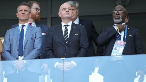 VOLGOGRAD, RUSSIA  JUNE 22, 2018: Football Association of Iceland (KSI) President Gudni Bergsson, FIFA President Gianni Infantino, and Nigeria Football Federation (NFF) President Amaju Melvin Pinnick (L-R) watch the 2018 FIFA World Cup Group D match between Nigeria and Iceland at Volgograd Arena Stadium. Sergei Bobylev/TASS (Photo by Sergei BobylevTASS via Getty Images)