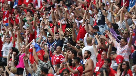 VOLGOGRAD, RUSSIA - JUNE 25: Fans of Egypt during the 2018 FIFA World Cup Russia group A match between Saudia Arabia and Egypt at Volgograd Arena on June 25, 2018 in Volgograd, Russia. (Photo by Catherine Ivill/Getty Images)