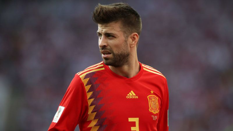 MOSCOW, RUSSIA - JULY 01:  Gerard Pique of Spain is seen during the 2018 FIFA World Cup Russia Round of 16 match between Spain and Russia at Luzhniki Stadium on July 1, 2018 in Moscow, Russia. (Photo by Ian MacNicol/Getty Images)