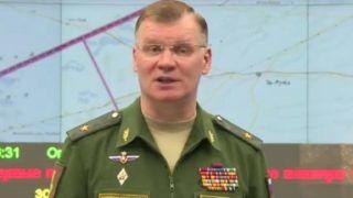 Moszkva, 2017. április 7. Az orosz védelmi minisztérium honlapján közreadott videofelvételrõl készített képen Igor Konasenkov, az orosz védelmi minisztérium szóvivõje nyilatkozatot tesz a Szíria elleni amerikai légicsapásokról Moszkvában 2017. április 7-én. Donald Trump amerikai elnök elõzõ nap légicsapást rendelt el manõverezõ robotrepülõgépek bevetésével a szíriai Homsz egyik légibázisa ellen, megtorlásul az április 4-i feltételezett vegyifegyver-támadásért. (MTI/EPA/Orosz védelmi minisztérium)