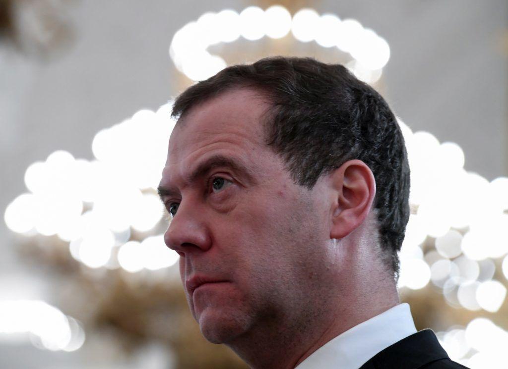 Moszkva, 2017. december 28. Dmitrij Medvegyev orosz miniszterelnök a Szíriában harcoló orosz katonák kitüntetési ünnepségén a moszkvai Kremlben 2017. december 28-án. (MTI/EPA/AFP pool/Kirill Kudrjavcev) *** Local Caption *** 51544546