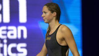 Glasgow, 2018. augusztus 6. Kapás Boglárka, miután megnyerte a nõi 200 méteres pillangóúszást a glasgow-i úszó Európa-bajnokságon 2018. augusztus 6-án. (MTI/EPA/Patrick B. Kraemer)