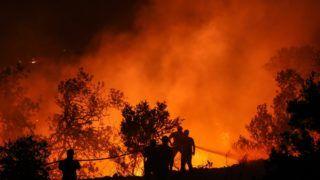 Corgos, 2018. augusztus 9. Tûzoltók dolgoznak a lángok megfékezésén a dél-portugáliai Corgos település közelében pusztító erdõtûz helyszínén 2018. augusztus 8-án. (MTI/EPA/Miguel A. Lopes)