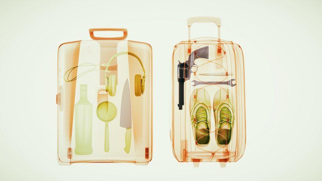 Baggage through the Xray machine to ensure safety. 3d illustration.