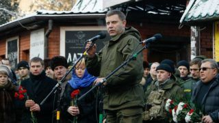 """Donyeck, 2018. augusztus 31. 2016. január 22-én Donyeckben készített kép Olekszandr Zaharcsenkóról, az önhatalmúlag kikiáltott """"Donyecki Népköztársaság"""" megválasztott elnökérõl. 2018. augusztus 31-i sajtóhírek szerint Zaharcsenko életété vesztette, miután pokolgép robbant a donyecki Szepar nevû kávéházban. A 42 éves Zaharcsenko 2014. november 4-e óta volt az önkényesen kikiáltott Donyecki Népköztársaság vezetõje, korábban már több, ellene irányuló merényletkísérletet túlélt. (MTI/EPA/Olekszandr Jermocsenko) *** Local Caption *** 53654840"""