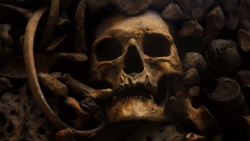 pile of bones lying in the basilica of Otranto