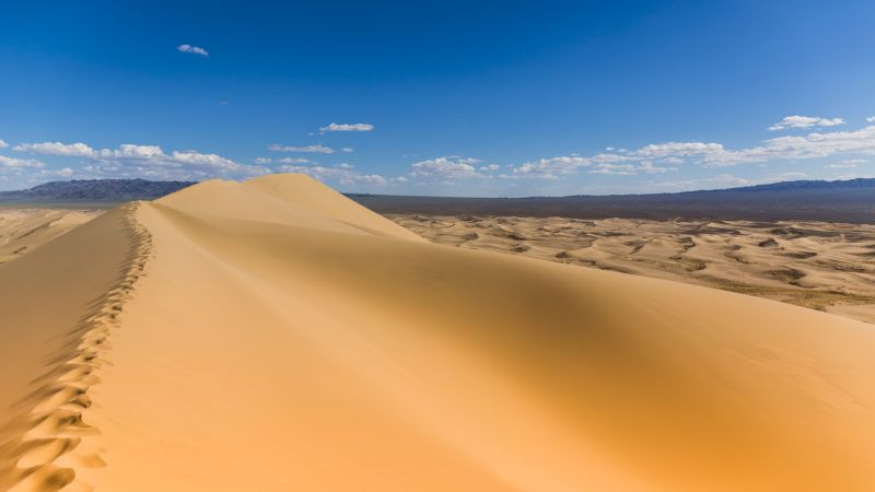 Singing sand dunes in the Mongolian Gobi Desert