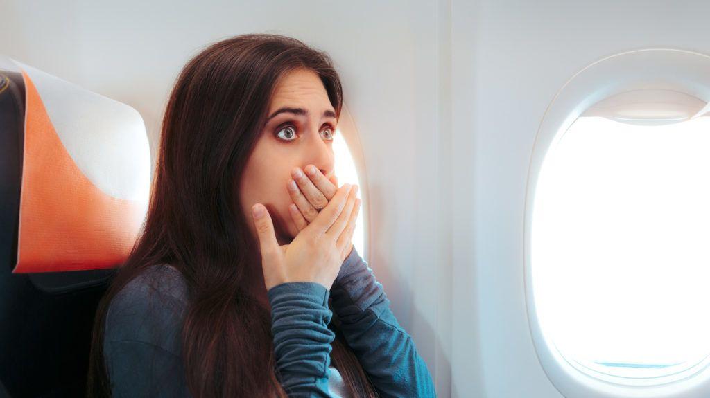 Aircraft passenger having a bad episode of motion sickness