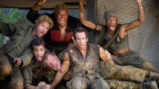 Tonnerre sous les tropiques  Tropic Thunder   Year : 2008 - USA  Robert Downey Jr., Jack Black, Brandon T. Jackson, Jay Baruchel, Nick Nolte, Ben Stiller   Director: Ben Stiller