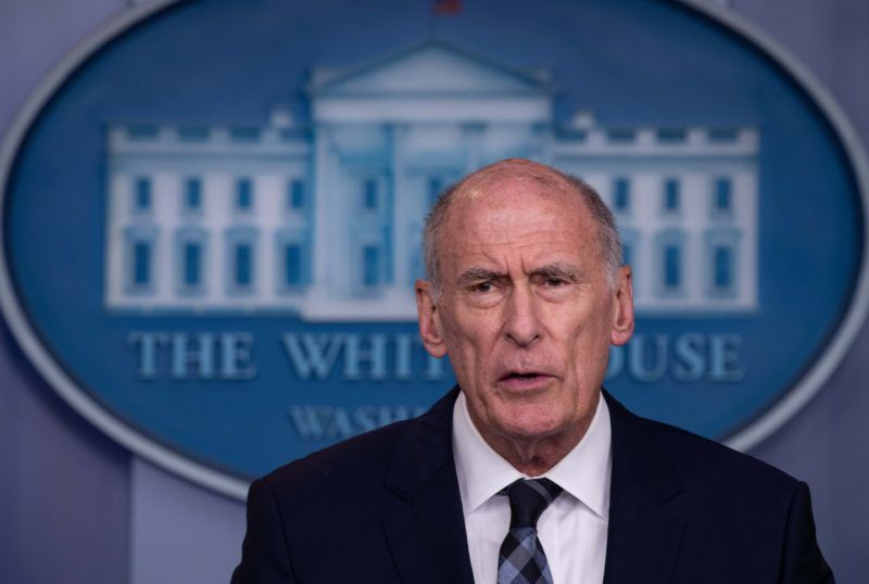"""US Director of National Intelligence Dan Coats speaks during a press briefing at the White House in Washington, DC, on August 2, 2018. The US government on Thursday accused Russia of carrying out a """"pervasive"""" campaign to influence public opinion and elections, in a public warning just months before crucial legislative elections. """"We continue to see a pervasive messaging campaign from Russia to try and weaken and divide the United States,"""" said Dan Coats, the director of national intelligence. / AFP PHOTO / NICHOLAS KAMM"""