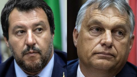 Italy's Interior Minister Matteo Salvini looks on as he addresses a press conference alongside Hungary's Prime Minister Viktor Orban following a meeting in Milan on August 28, 2018. / AFP PHOTO / MARCO BERTORELLO