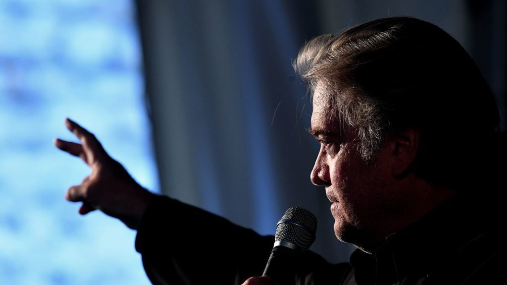 """Former White House Chief Strategist Steve Bannon speaks during the congress of the far right party """"Fratelli d'Italia"""", in Roma, on September 22, 2018. / AFP PHOTO / Tiziana FABI"""