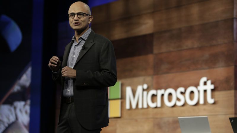 Microsoft CEO Satya Nadella speaks during the annual Microsoft shareholders meeting in Bellevue, Washington on November 29, 2017.  / AFP PHOTO / Jason Redmond
