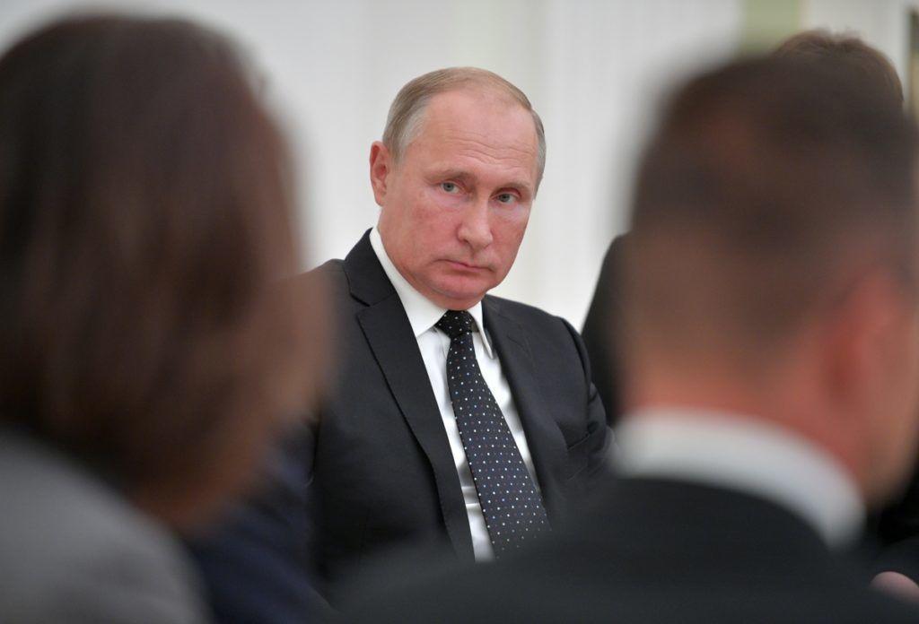 5640255 18.09.2018 September 18, 2018. Russian President Vladimir Putin during a meeting with Hungarian Prime Minister Viktor Orban. Alexei Druzhinin / Sputnik