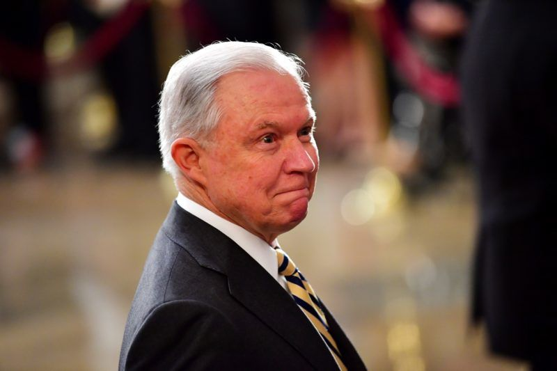 Attorney General of the United States Jeff Sessions stands as the casket of former Senator John McCain in the Capitol Rotunda lies in state at the U.S. Capitol, in Washington, DC on Friday, August 31, 2018. McCain, an Arizona Republican, presidential candidate and war hero died August 25th at the age of 81. He is the 31st person to lie in state at the Capitol in 166 years.    Photo by Kevin Dietsch/UPI | usage worldwide