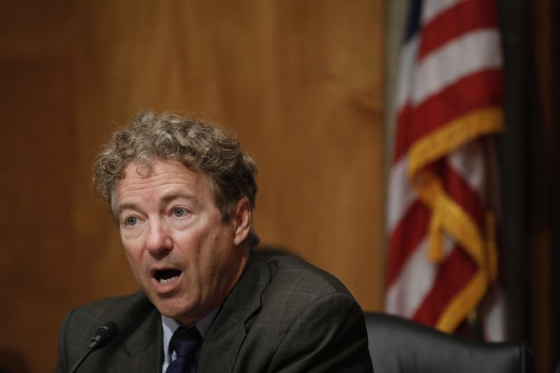 WASHINGTON, DC - JUNE 6: Sen. Rand Paul (R-KY) speaks during a Federal Spending Oversight And Emergency Management Subcommittee hearing June 6, 2018 on Capitol Hill in Washington, DC. Members of both parties raised questions about a lack of Congressional oversight of military deployments overseas.   Aaron P. Bernstein/Getty Images/AFP