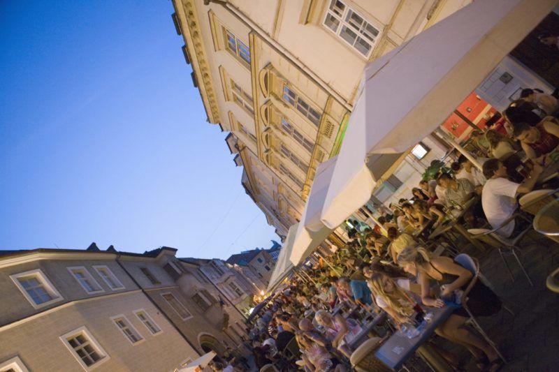 Cafes and street scene, Venturska Ul, Bratislava, Slovakia, Europe
