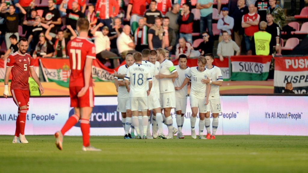 Finland's players celebrate after scoring a goal during the UEFA Nations League football match between Finland and Hungary on September 8, 2018 in Tampere.  / AFP PHOTO / LEHTIKUVA / Mikko Stig / Finland OUT