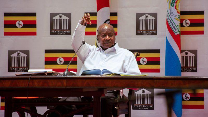 Uganda's President Yoweri Museveni addresses the nation at State House in Entebbe, Uganda, on September 9, 2018. / AFP PHOTO / SUMY SADURNI