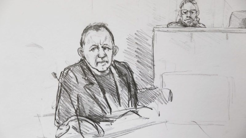 A courtroom sketch shows Peter Madsen during the trial regarding the killing of Swedish journalist Kim Wall in Copenhagen, Denmark on April 25, 2018. Peter Madsen was sentenced to life in prison for murdering and dismembering Swedish journalist Kim Wall in August 2017 in his homemade submarine. RESTRICTIONS: No third party agency distribution.(Sketch by : Anne Gyrithe Schûtt/Ritzau Scanpix)