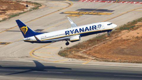 Palma de Mallorca, Spain - July 21, 2018: Aerial photo of a Ryanair Boeing B737-800 airplane taking off at Palma de Mallorca airport in Spain. | usage worldwide