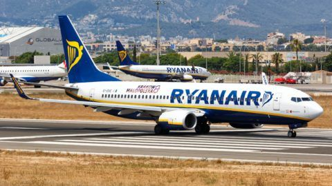 Palma de Mallorca, Spain - July 22, 2018: Ryanair Boeing B737-800 airplane taking off at Palma de Mallorca airport in Spain. | usage worldwide