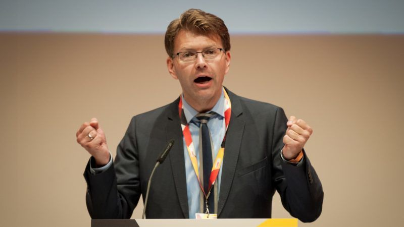 Daniel Caspary (CDU), a member of the European Parliament and one of three regional deputies for the party in the state of Baden-Württemberg, gives a talk to party members at the CDU's convention in the City Hall in Reutlingen, Germany, 9 September 2017. Photo: Christoph Schmidt/dpa