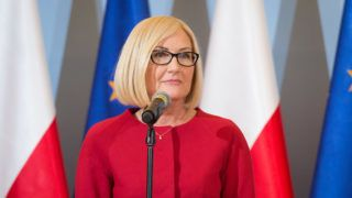 Polish government spokesperson Joanna Kopcinska during the press conference at Chancellery of the Prime Minister in Warsaw, Poland on 23 January 2018. (Photo by Mateusz Wlodarczyk/NurPhoto)