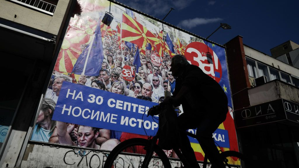 Skopje, former Yugoslav Republic of Macedonia on September 29, 2018. A referendum set for Sunday in Macedonia seeks voter support for changing the Balkan nation's name to North Macedonia. Greece has agreed to drop longstanding objections to neighboring Macedonia joining NATO and eventually becoming a member of the European Union, if the new name is approved. Konstantinos Tsakalidis / SOOC