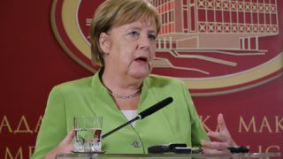 SKOPJE, MACEDONIA - SEPTEMBER 8: German Chancellor Angela Merkel speaks during a joint press conference held with Macedonian Prime Minister Zoran Zaev (not seen) in Skopje, Macedonia on September 8, 2018.  Besar Ademi / Anadolu Agency