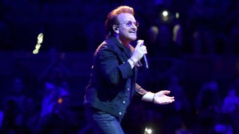 """NEW YORK, NY - JULY 01:  Bono of U2 performs on stage during the """"eXPERIENCE & iNNOCENCE"""" tour at Madison Square Garden on July 1, 2018 in New York City.  (Photo by Kevin Mazur/Getty Images for NLM)"""