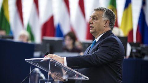 Strasbourg, 2018. szeptember 11. Orbán Viktor miniszterelnök felszólal az Európai Parlament vitáján 2018. szeptember 11-én. MTI Fotó: Miniszterelnöki Sajtóiroda / Szecsõdi Balázs