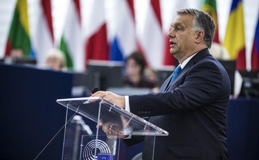 Strasbourg, 2018. szeptember 11.Orbán Viktor miniszterelnök felszólal az Európai Parlament vitáján 2018. szeptember 11-én.MTI Fotó: Miniszterelnöki Sajtóiroda / Szecsődi Balázs