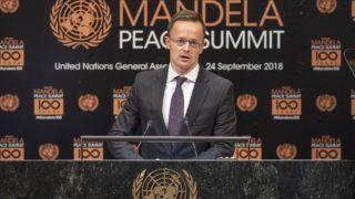 New York, 2018. szeptember 24. A Külgazdasági és Külügyminisztérium (KKM) által közreadott képen Szijjártó Péter külgazdasági és külügyminiszter beszédet mond a Nelson Mandela volt dél-afrikai elnökrõl, apartheidellenes harcosról elnevezett béke-világtalálkozón New Yorkban 2018. szeptember 24-én. A tanácskozást az ENSZ-közgyûlés e héten zajló ülésszakához kapcsolódva rendezték. MTI Fotó: ENSZ Photo/Cia Pak