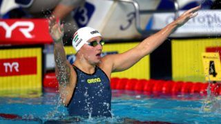 GLASGOW, SCOTLAND - AUGUST 08:  Katinka Hosszu of Hungary celebrates winning gold in the women's 200m individual medley final during the swimming on Day seven of the European Championships Glasgow 2018 at Tollcross International Swimming Centre on August 8, 2018 in Glasgow, Scotland. This event forms part of the first multi-sport European Championships.  (Photo by Clive Rose/Getty Images)